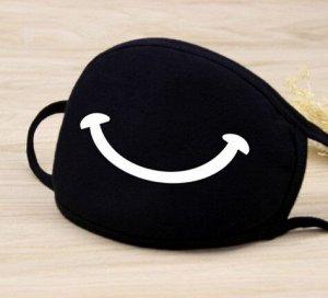 """Маска для лица, цвет черный, принт """"улыбка"""""""