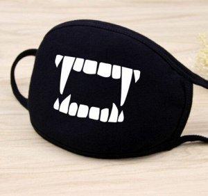 """Маска для лица, цвет черный, принт """"зубы вампира"""""""