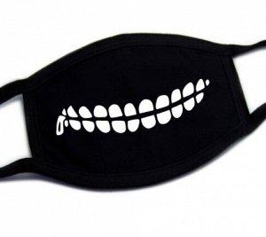 """Маска для лица, цвет черный, принт """"зубы"""""""
