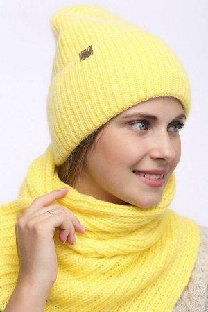 Комплект Комплект. шарф, шапка - 54-58 см; канареечный(жёл); двухслойная - подклад флис -  Пряжа Ангора