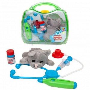 Игровой набор ABtoys Маленький доктор. Скорая помощь для животных с чемоданчиком и плюшевой кошечкой2