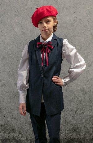Жилет Состав: 40% вискоза, 60% полиэстер.  Цвет: темно-синий.   Подробнее: Ультрамодный и потрясающе красивый удлинённый жилет для школьниц, который с удовольствием носила бы и мама, но создан специал