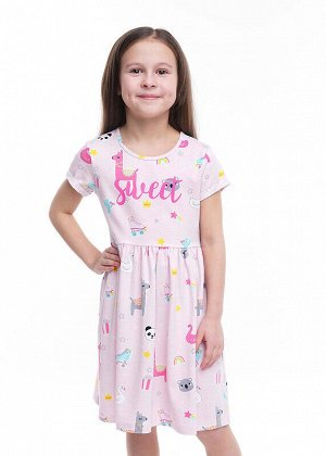 Платье Состав: 92% Хлопок, 8% Эластан.  Цвет: св.розовый/серый.   Подробнее: Базовое платье из цветного хлопка с лайкрой. Украшено принтом. За счет своей яркой расцветки подходит на каждый день.