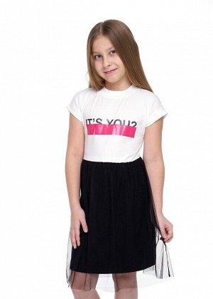 Платье Состав: 92% Хлопок, 8% Эластан.  Цвет: молочный.   Подробнее: Стильное платье с юбкой из сетки. Горловина с актуальной невысокой стойкой. подклад юбки по -современному короче основоной длины из