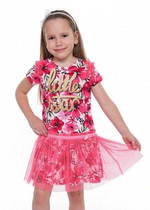 Платье Состав: 100% Хлопок.  Цвет: молочный/розовый.   Подробнее: Повседневное платье из 100% хлопка и юбкой из сетки с блеском. Заниженная линия талии, по подрезу настрочена бархатная лента с бантико