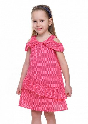 Платье Состав: 65% Хлопок 35% ПЭ.  Цвет: розовый/молочный.   Подробнее: Милое платье, А-образного силуэта из легкого поплина в мелкий горошек. Актуальные вырезы на плечах, выполнены за счет волана, ис