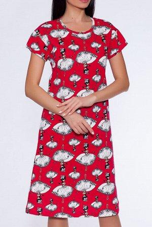 Платье Состав: Хлопок 100%;  Цвет: Красный/балерины;  Страна: Россия