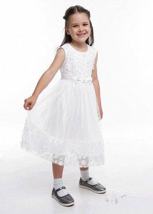Платье Состав: 100% ПЭ.  Цвет: молочный.   Подробнее: Нарядное платье с пышной многослойной юбкой. Отделана модель трендовой фактурной сеткой 3D цветы. На талии декоративный широкий пояс с бантом из а
