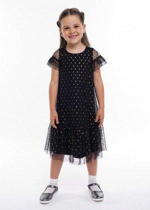Платье Состав: 100% ПА.  Цвет: чёрный.   Подробнее: Платье из сетки в горошек на хлопковом подкладе. Пышный рукав, по низу широкая оборка.