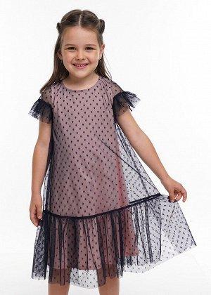 Платье Состав: 100% ПЭ.  Цвет: т.синий.   Подробнее: Платье из сетки в горошек на контрастном хлопковом подкладе. Пышный рукав, по низу широкая оборка.
