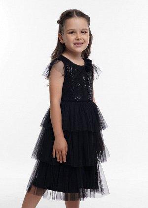 Платье Состав: 100% ПЭ;  Цвет: чёрный;   Нарядное платье с пышной юбкой из сетки ярусами. Лиф из ткани в мелкие пайетки. Изящные рукава-крылышки и цветы на оплечье. Объем регулируется поясом.