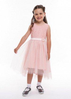 Платье Состав: 100% ПЭ.  Цвет: персиковый.   Подробнее: Нарядное платье с пышной многослойной юбкой из сетки в мелкий горошек, удлиненной сзади. Лиф выполнен из кружевного полотна. Украшаеи модель дек