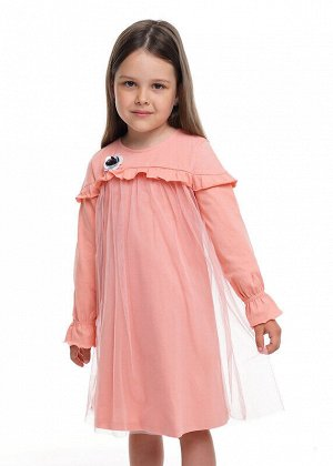 Платье Состав: 100% Хлопок.  Цвет: персиковый.   Подробнее: Романтичное платье из барахтистого хлопка(карбон). Верхний слой юбки из летящей сетки. Кокетка по переду и рукаву дополнена оборкой. Рукав с