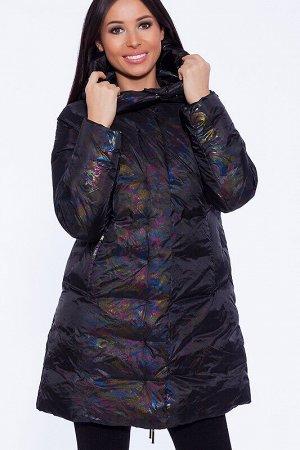 Пуховик Состав: Полиэстер 100%.  Цвет: Черный.   Подробнее: Для пальто подобрана уникальная ткань – нанесенная цветограмма заставляет сиять и переливаться изделие под лучами света. При этом пальто отн