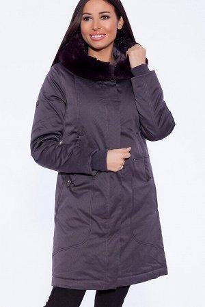 Пальто Состав: Полиэстер 83%, Хлопок 17%.  Цвет: Серо-фиолетовый.