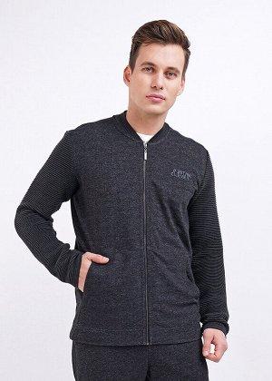 Куртка Состав: 100% Хлопок.  Цвет: чёрный.   Подробнее: Стильная куртка из футера на молнии. Изделие дополнено стропой по плечам, оргинальной отделкой по горловине, вместительными карманами и вязаными