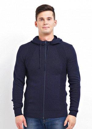 Куртка Состав: 100% хлопок.  Цвет: меланж т.синий.   Подробнее: Вязаная куртка с капюшоном из мягкой хлопковой пряжи малого объема. Функциональные карманы и застежку молнию оценят практичные мужчины.