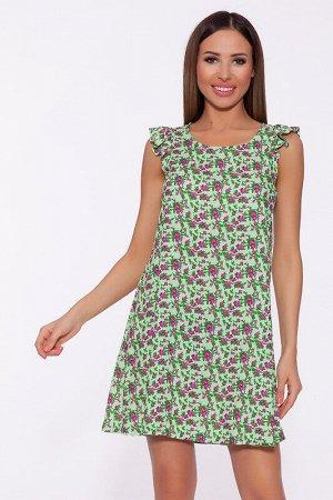 Платье Состав: Вискоза 100%.  Цвет: Салатовый/мелкие цветы.