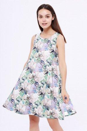 Сарафан Состав: Полиэстер 95%, Эластан 5%.  Цвет: Зеленый/сиреневый.   Подробнее: Нежное, летящее платье-сарафан создает летний романтический образ.