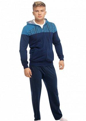 Куртка Состав: 80% Хлопок, 20% ПЭ.  Цвет: т.синий/т.бирюзовый.   Подробнее: Толстовка-куртка мужская на молнии с капюшоном и карманами, оформлена контрастным верхом, визуально расширяющим плечи. Толст