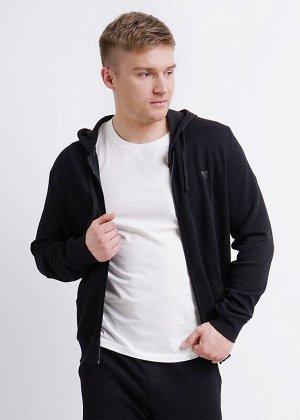 Куртка Состав: 50% ПЭ 50% Хлопок.  Цвет: чёрный.   Подробнее: Стильная куртка с капюшоном на молнии из интересного стильного трикотажного полотна будет незаменимой вещью в гардеробе любого мужчины. Ор