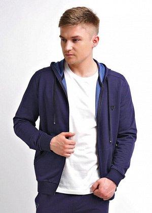 Куртка Состав: 75% хлопок, 20% п/э, 5% эластан.  Цвет: т.синий.   Подробнее: Модная куртка с капюшоном на молнии из плотного трикотажного полотна будет незаменимой вещью в гардеробе любого мужчины, бл
