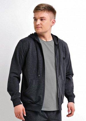 Куртка Состав: 36% хлопок, 56% п/э, 8% эластан.  Цвет: меланж т.серый.   Подробнее: Модная куртка с капюшоном на молнии из плотного трикотажного полотна будет незаменимой вещью в гардеробе любого мужч