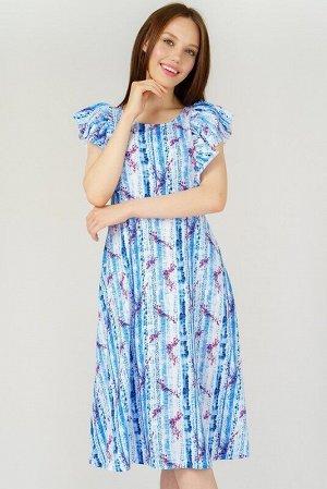Сарафан Ткань: кулирная гладь; Состав: хлопок 100%; Цвет: бело-голубой; Женский трикотажный приталенный сарафан. По бокам два кармана, на плечах объемные воланы.   Рост модели на фото 177 см.  Парамет