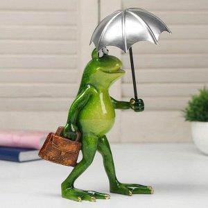 """Сувенир полистоун лак """"Лягуха под зонтом"""" 21,5х9,5х16 см"""