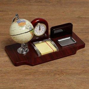 Набор настольный 5в1 (часы, подст п/виз,Глобус,листы д/зам,ст-н д/скреп) 19х24х16,5 см