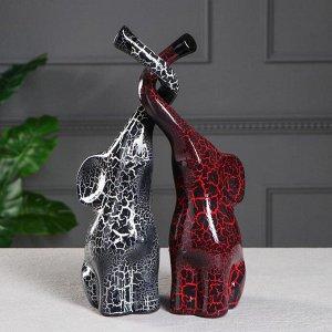 """Набор статуэток """"Слоны Инь-Янь"""", кракелюр, красно-чёрный, 33 см"""