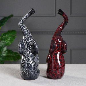 """Набор статуэток """"Слоны Инь-Янь"""". кракелюр. красно-чёрный. 33 см"""