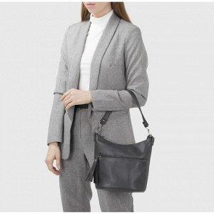 Сумка женская, отдел на молнии, наружный карман, цвет серый