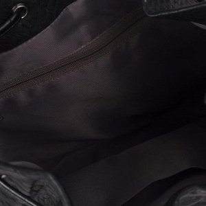 Сумка женская, отдел на завязке, длинный ремень, цвет чёрный