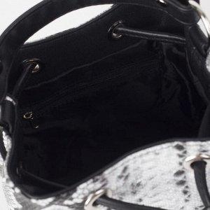 Сумка женская, отдел на завязке, длинный ремень, цвет чёрный/белый