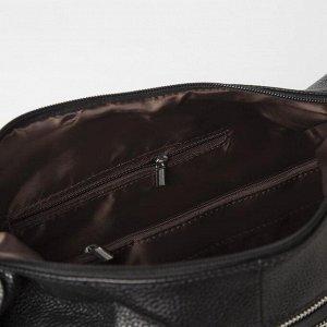 Сумка женская, отдел на молнии, 5 наружных карманов, цвет чёрный