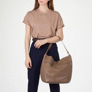 Сумка женская, отдел на молнии, 3 наружных кармана, цвет бежевый