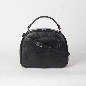 Сумка женская, 2 отдела на молнии, 2 наружных кармана, длинный ремень, цвет чёрный