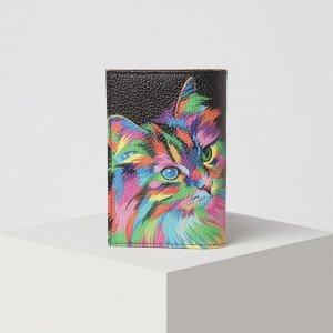 Обложка для паспорта, цвет чёрный/разноцветный