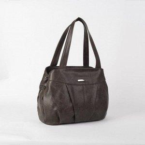 Сумка женская, 3 отдела на молниях, наружный карман, цвет коричневый