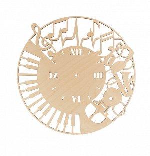Деревянная заготовка Часы музыканта фанера 40см