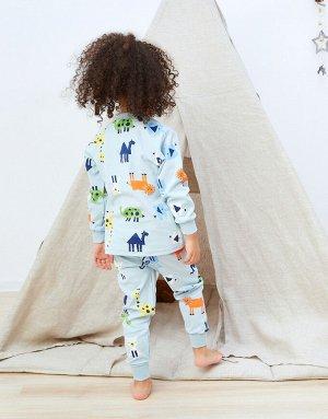 Пижамка Голубая пижамка с животными  Состав: 100% хлопок