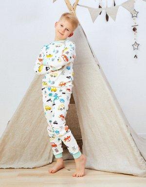 Пижамка Пижамка бело-зеленая машинками  Состав: 100% хлопок