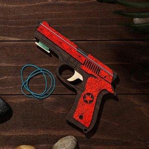 Сувенир деревянный «Резинкострел, красный гранит» + 4 резинки