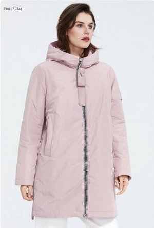 Женская демисезонная куртка с капюшоном, цвет розовый
