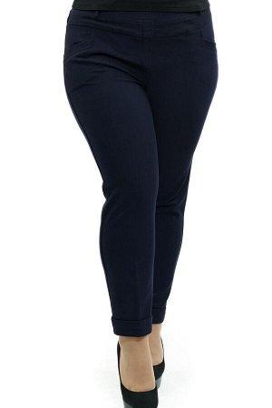 Брюки-2666 Модель брюк: Дудочки; Материал: Трикотаж; Фасон: Брюки Брюки 7/8 плотные трикотаж синие Однотонные брюки-стрейч выполнены из плотной мягкой ткани. Модель отлично сидит за счет комфортной ре