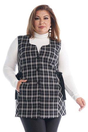 """Жилет-2625 Жилет """"Клетка"""" на пуговках с хлястиками по бокам черный     Элегантный стильный жилет выполнен из плотной ткани на подкладке по переду. Удлиненная модель прямого силуэта имеет круглый вы"""