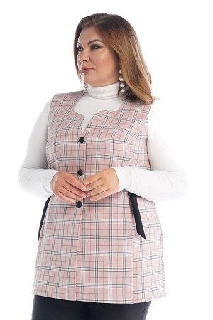 """Жилет-2570 Жилет """"Клетка"""" на пуговках с хлястиками по бокам розовый     Элегантный стильный жилет выполнен из плотной ткани на подкладке по переду. Удлиненная модель прямого силуэта имеет круглый в"""
