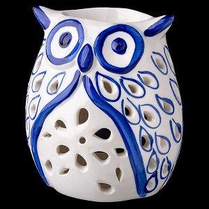 "Аромалампа УЦЕНКА ""Сова"", синие пёрышки, керамика, 9х8х11см"
