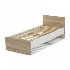Кровать 80 (с орт.основанием) Эксон 856х710х2032, белый/дуб сонома